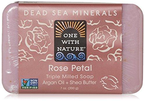 One With Nature Pain de savon aux pétales de rose - Exfoliant doux - Avec sels minéraux de la Mer morte et beurre de karité - 200 g