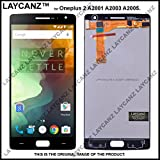 LAYCANZ Oneplus 2 LCD Display Touch Screen Glass Digitizer Assembly Aluminium 5in1 Tools for A2001, A2003, A2005, (Black)