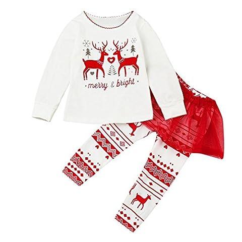 Bekleidung Longra Kleinkind Kinder Baby Mädchen Kleidung Langarm Brief Deers T-Shirt Tops + Tutu Hosen Set Outfits festliche Weihnachten kindermode kinderbekleidung(0-5Jahre) (90CM 12Monate, WHITE)