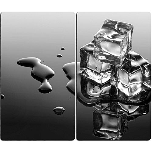 Juego de 2 unidades de cubiertas para cocina de cristal Dekoglas, incluye tacos, 30x 52cm, tabla de cortar, protección antisalpicaduras, decoración de cubitos de hielo