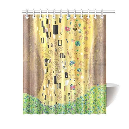 """KOLATREE Oro Astratto Tenda Doccia Inspired by Gustav Klimt, Il Bacio Arte artistici Tenda da Doccia per Bagno 60\""""(w) X 72\""""(h)[150cm X 180cm]"""
