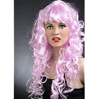Peluca larga mujer sirena rosa
