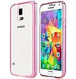 NOV@GO® Coque rigide ultra mince avec contour colorés pour Samsung Galaxy S5 et S5 Neo (S5, Rose)