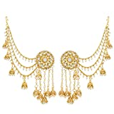 #2: The Luxor Traditional Gold Jewellery Bahubali Pearl Kundan Long Chain Jhumkhi Earrings for Girls & Women