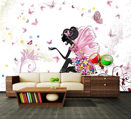 Fototapete Schmetterlingselfe Vliestapete Wandtapete - Tapete - Moderne Wanddeko - Wandbilder - Fotogeschenke - Wand Dekoration, wandmotiv24, Größe: XL 350 x 245 cm - 7 Teile - Vlies