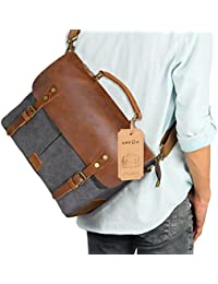 Lifewit 14 inch Leather Satchel Messenger Laptop Shoulder Bag Canvas Briefcase, 33cm(L)x27cm(H) x 10cm(W) (14'', Grey)