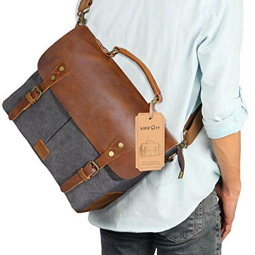 Lifewit Vintage Messenger Bag Umhängetasche Aktentasche Schultertasche 14 Zoll Laptoptasche Notebooktasche aus Canvas und Leder Schwarz (Schwarze Leder Aktentasche)