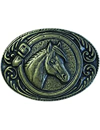 Gürtelschließe Pferdekopf mit Hufeisen 4,0 cm Reiten Reiter Western Rodeo