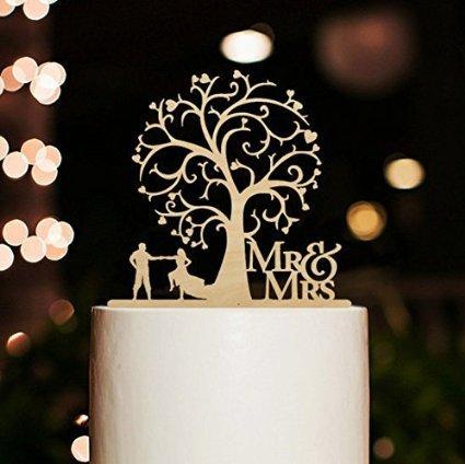 Herr und Frau Cake Toppers Braut und Groom Dance unter Blossom Baum rustikal Tortenaufsatz