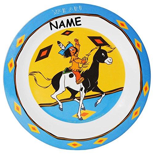 "Kinderteller "" Yakari "" - incl. Name - ø 22 cm - aus Melamin - Kunststoff / Plastikteller Plastik - Speiseteller / Pferd Indianer - Teller - Geschirr für Kinder - Mädchen & Jungen"