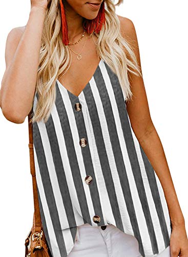EUTUOPU Women's Summer Casual Loose V Neck Shirt Chiffon Button Down Spaghetti Strap Cami Vest Solid Color Floral Striped Tank Tops Sleeveless Shirt Blouse (Y-Black) -