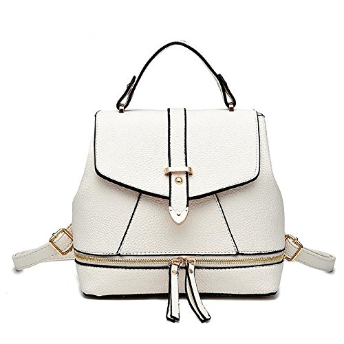 LDMB Damen-handtaschen PU Leder Casual Studentin magnetischen fangen Rucksack Schulter Messenger Handtasche White