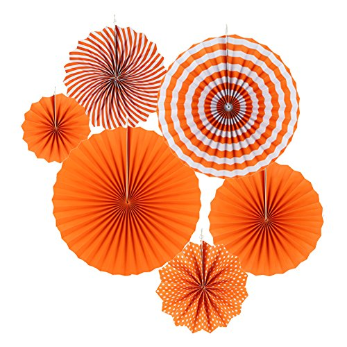 pier Fächer Dekoration für Party Feier Hochzeit Geburtstag Kombination 21cm 31cm 42cm (Orange) (Halloween Orange County)