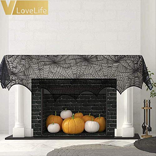 WSJDE 1 Stück 90X244 cm Schwarz Spinne Kamin Mantel Schal Spitze Spiderweb   Holloween Liefert Home Horror Party Supplies (Holloween Sexy Herren Kostüm)