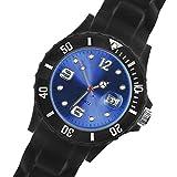 Taffstyle® Sportarmbanduhren - Sportuhr Silikon Armbanduhr Sport Trend Schwarz Farbiges Ziffernblatt mit Datum - Schwarz / Blau