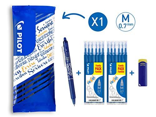PILOT FriXion Clicker, radierbarer Tintenroller (Blau) + 12 Ersatzminen + FriXion Radierer - Blau 12