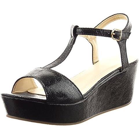 Sopily - Zapatillas de Moda Sandalias correa Tobillo mujer cocodrilo patentes tanga Talón Tacón ancho 6.5 CM - Negro
