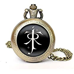 Lord Of The Rings Quartz Pocket Watch Necklace - Antique Bronze Effect - GIFT BOXED WITH FREE SPARE BATTERY