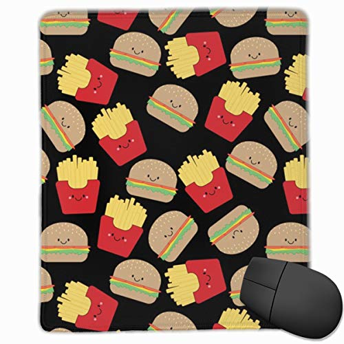 Sexy Friesen (Burger and Fries On Black Mouse Pad Custom Design Gaming Mouse Mat Computer Mouse Pads with Non-Slip Neoprene Backing 9.8 X 11.8 inch (25 X 30 cm))