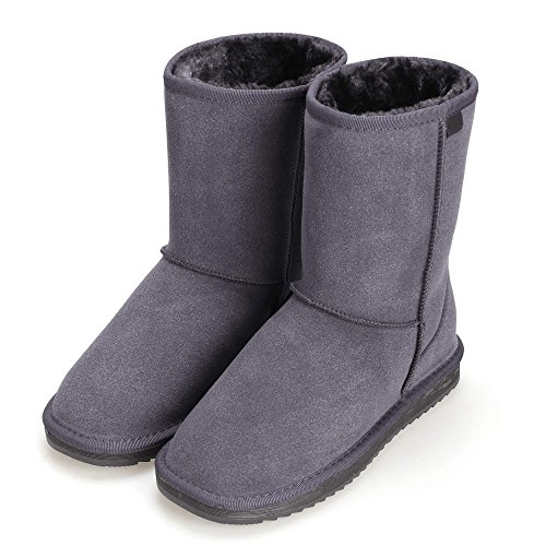 cooshional Stivali donna invernali da neve stile di semplice caldo popolare piatto tacco scarpe invernali Grigio
