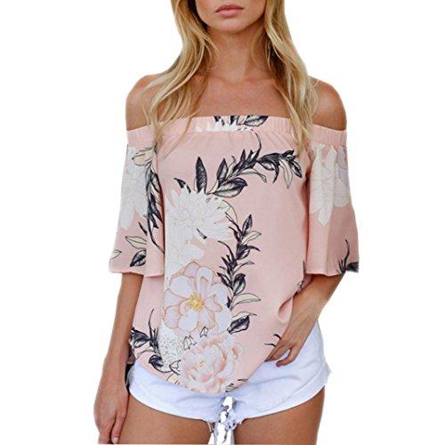 Dragon Mode Frauen Weg Von Der Schulter Mit Blumenmuster Bluse Beiläufige Oberseiten T-Shirt Rosa