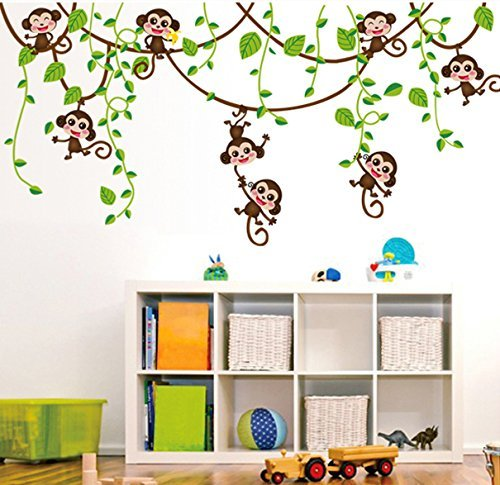 Hip-hop Cartoon Monkey Tree Removable Wall Decal PVC Home Sticker House Decoration WallPaper Living Dinning Room Bedroom Kitchen Art Picture DIY Murals Girls Boys kids Nursery Baby Playroom Decor by fashionbeautybuy1 (Art Picture House)