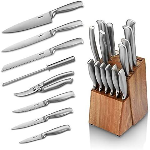 Aruhe- Juegos de 14 Piezas Profesional Cuchillos de Cocina y Soporte Juegos de Cuchillos en con Bloques de Cuchillos, Acero