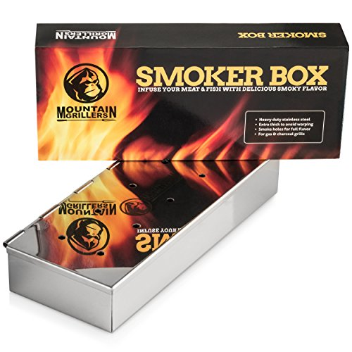 SMOKER BOX For Barbecues - Add Delicious Smoky BBQ Flavour to Your Grilled Meat - Smoke Wood Chips of Your Choice - Good for Gas Or Charcoal Grill - Won't Warp or Stain & Opens Easily with Hinged Lid