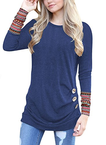- 5161L K4D 2BL - Lylafairy Donna Maniche Lunghe T Shirt Casual Camicia Maglietta Felpa