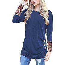 Lylafairy Damen Langarm Oberteile Herbst Sweatshirt Rundhals Elegant Casual T-Shirt Tops mit Zierknöpfe