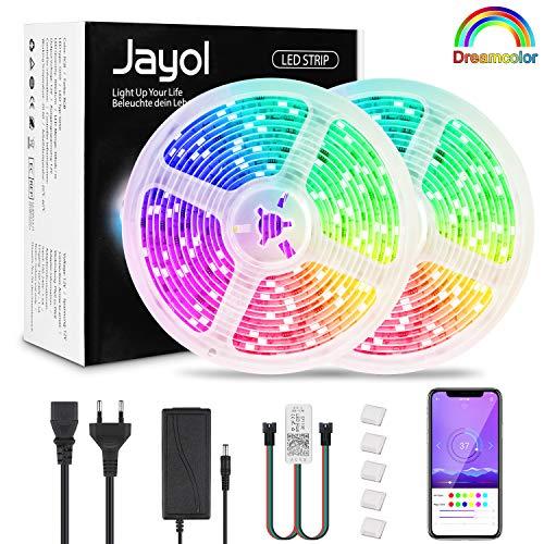 DreamColor Led Strip 10m, RGB LED Streifen mit eingebautem IC,wasserdichte LED Lichtband mit APP, Bluetooth Led Stripes mit Netzteil für Deko Party Weihnachten