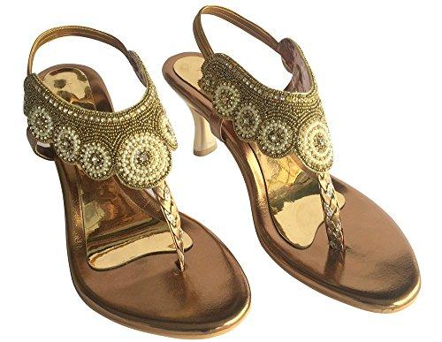 Étape N strass style mariée sexy en dentelle maille Peep Toe Stiletto Talon Chaussures indien Bronze - Copper