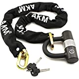 AKM Security Bike Chain Lock Heavy Duty Bicycle Lock Bike Disc Lock with 16mm U Lock,4-Feet Motorbike Lock Black