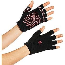 Gaiam Grippy guantes de Yoga, Grippy, negro/rosa