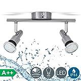 Lámpara de techo para baño IP44 incl. 2x5W LED bombillas orientables GU10 I Focos de techo y pared I luz blanco cálido 3000K I metal I Color níquel mate
