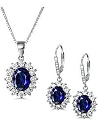 f41fcf826d36 MASOP Damen Ohrringe Halskette Schmuckset 925 Sterling Silber Saphir  Ohrhänger Anhänger Blau Oval und Weiß Rund Zirkonia CZ…