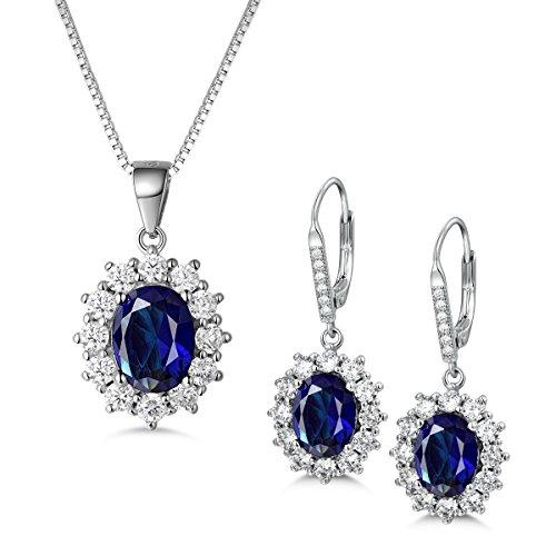 MASOP, orecchini pendenti con zaffiro blu, in argento Sterling 925, come quelli della principessa Diana e Kate Middleton e Argento, colore: Earrings+Necklace, cod. SME030-1+SMP030-1
