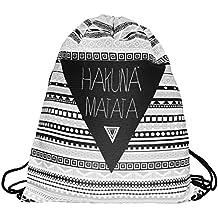 Hakuna Matata. Clásica bolsa de cincha. Bolso para gimnasio. Mochila. Ropa para gimnasio o escuela. Bolsa de cincha hipster