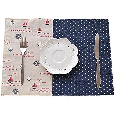 oumosi algodón colorido moderno rayas Manteles de mesa (Flores Decorativas de Tela Dot Western almohadillas de aislamiento pad mesa de comedor decoración