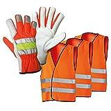 Sicherheits-Pannenset, 3 Warnwesten und 1 Paar Pannenhandschuhe, Set - Arbeitshandschuhe Handschuhe Schutz