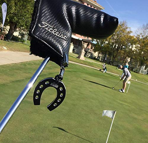 SelfieTotem Head Cover Keeper, Clip on Leash für sicheres Golf Zubehör, Stop Losing, Experience Lucky Horseshoes, Putt Trainer für Geschwindigkeitskontrolle (schwarz) (Golf Putter Zubehör)