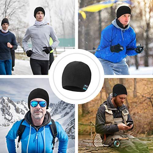 coskefy Bluetooth Mütze Damen Herren Winter Strickmütze Warm Wireless Waschbare Bluetooth Beanie Herbst Outdoor Sport Ski Camping Wandern Headset Kompatibel mit Smartphones Tablets iPad Laptops(Schwarz)