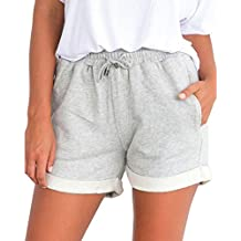 PAOLIAN Pantalones Cortos para Mujer Verano 2018 Casual Pantalones de  Vestir Running Playa Sólido Fiesta con 9f31941530d9