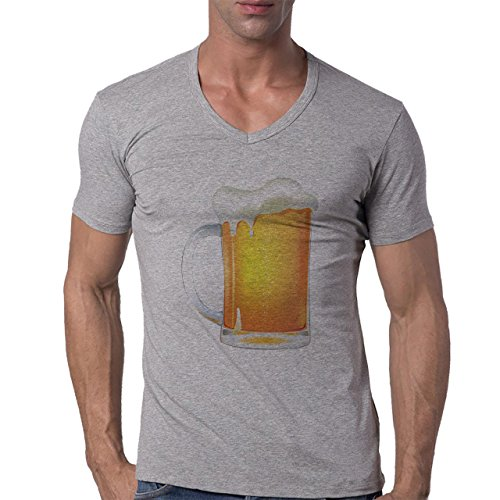 Beer Drink Oktoberfest Glass Golden Herren V-Neck T-Shirt Grau