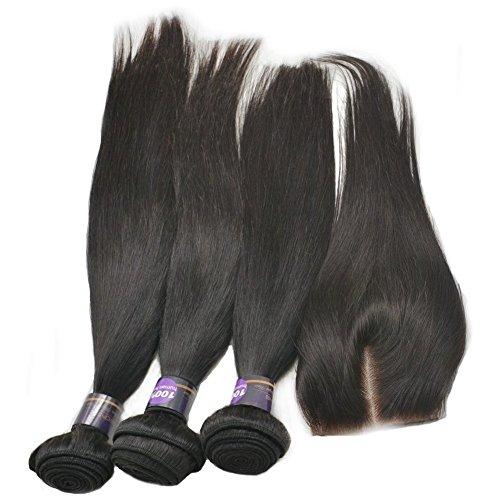 Moresoo 3 Bundles Lisse Tissage et 1 Milieu Part Lace Closure Meches Bresiliennes Lisse Cheveux Humains Weaving Extensions Cheveux 100% Humain Tissage(12\\
