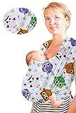 Olimbera Tragetuch Babytragetuch Babytrage Bauchtrage bis 17kg 100% Baumwolle 5m, Farbe:Eulen bunt 10