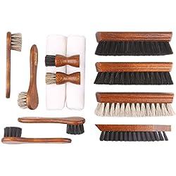 Die Schuhanzieher Kit de 12 pièces de cirage pour cuir lisse - Brosses de chaussures en bois avec crin de cheval - Fabriqué en Allemagne - Edition classique z2604