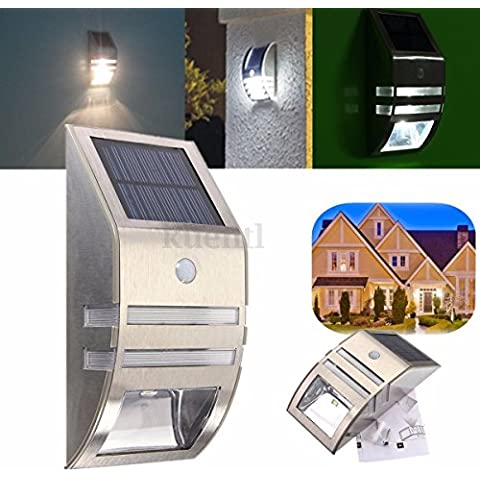 Sensor de movimiento acero inoxidable wallwhite LED luz al aire libre solar powered jardín