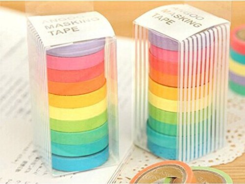B & Y Colorful decorativo Washi Set 10 Rotoli