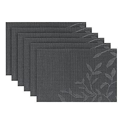 Fanuk Placemats Set of 6 Washable Heat Insulation Non-slip Woven Vinyl Place Mats for Kitchen and Dining Room ?Black Leaf? produced by Fanuk - quick delivery from UK.